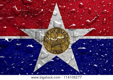 flag of Dallas with rain drops