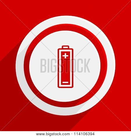 battery red flat design modern vector icon for web and mobile app