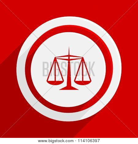 justice red flat design modern vector icon for web and mobile app
