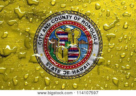flag of Honolulu with rain drops
