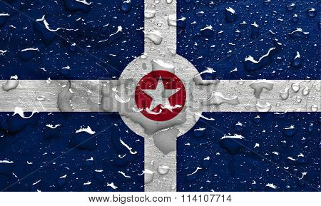 flag of Indianapolis with rain drops