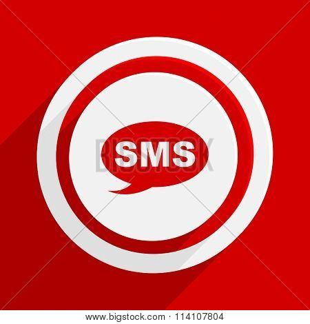 sms red flat design modern vector icon for web and mobile app