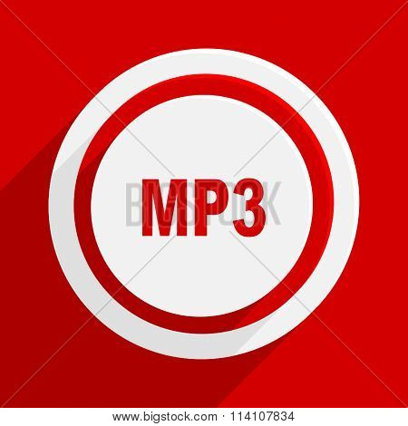 mp3 red flat design modern vector icon for web and mobile app
