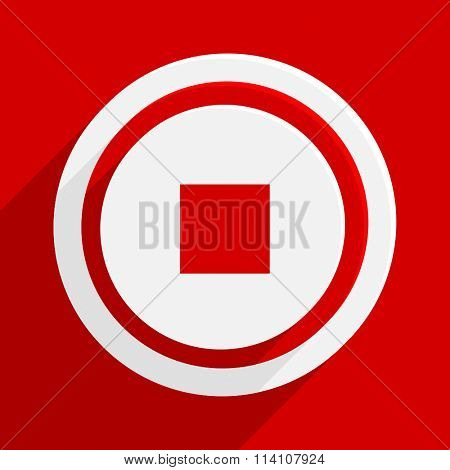 stop red flat design modern vector icon for web and mobile app