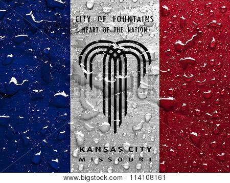 flag of Kansas City with rain drops