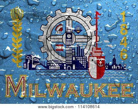 flag of Milwaukee with rain drops