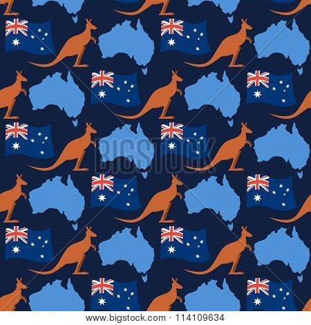 Australia Day Seamless Ornament. Kangaroos And Flag Of Australia. Continent Map Of State Of Australi