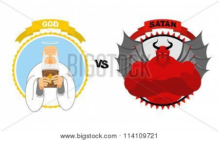God Vs Satan. Good Grandfather With White Beard And Halo Above His Head Holds Bible. Dreaded Red Dev