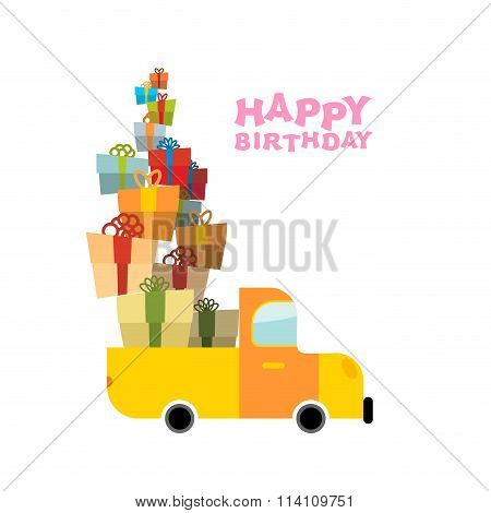 Car And Pile Of Presents. Happy Birthday To You. Lot Of Gift Boxes For Holiday. Fun Day In Persons L