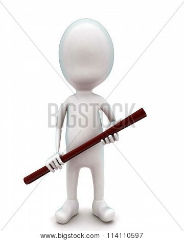 3D Man Holding A Wodden Stick In Hands Concept