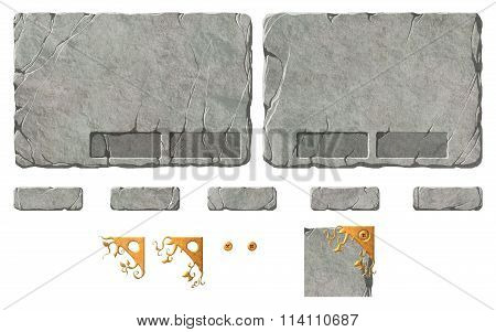 Set of stone buttons, panels and elements.