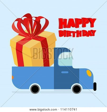 Happy Birthday. Truck Carries Large Gift Box. Yellow Gift Box With Red Bow. Big Surprise For Birthda