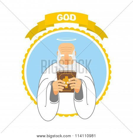 God And Holy Bible. Good Grandpa Keeps Holy Book. Holy Man And Tall Ancient Book. New Testament. Hal