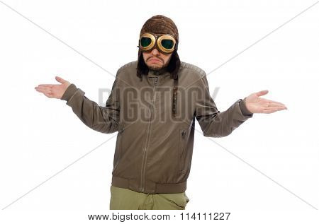Man wearing pilot goggles isolated on white