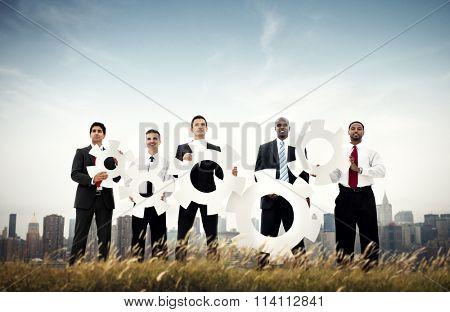 Businessmen Cog Strategy Presenting Cityscape Concept