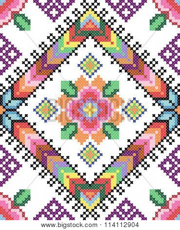 good like handmade cross-stitch ethnic Ukraine pattern. old embroidery