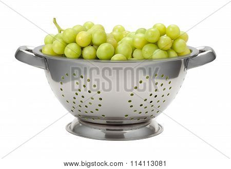 White Grapes In A Colander