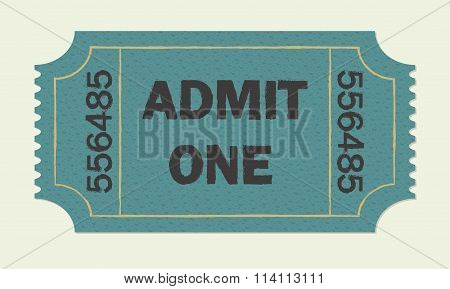 Ticket icon. Colorful vector illustration of cinema or theater retro ticket.