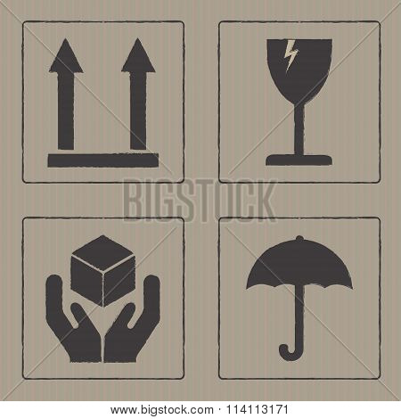 Packaging icons or sign set. Fragile symbols isolated on cardboard texture. Vector illustration.
