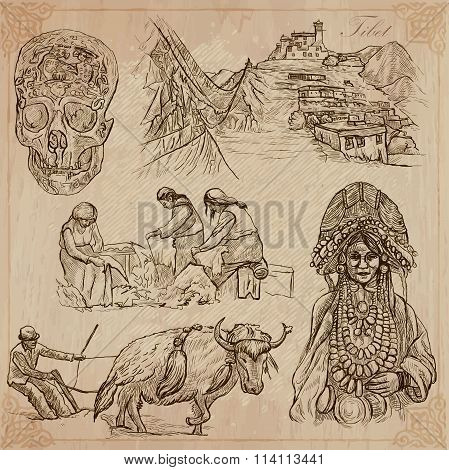Tibet. Travel - Pictures Of Life. Vector Pack.