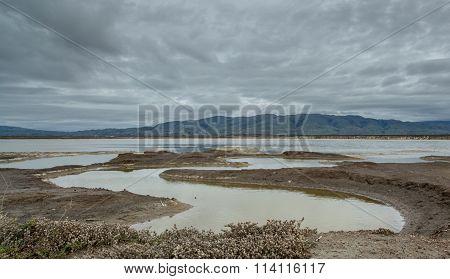 East bay mountains on a cloudy day. Alviso Marina County Park, Santa Clara County, CA