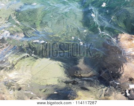 Nature Background Of Transparent Sea Water Flowing