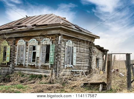 Abandoned Wooden House in Old Russian Village in Siberia