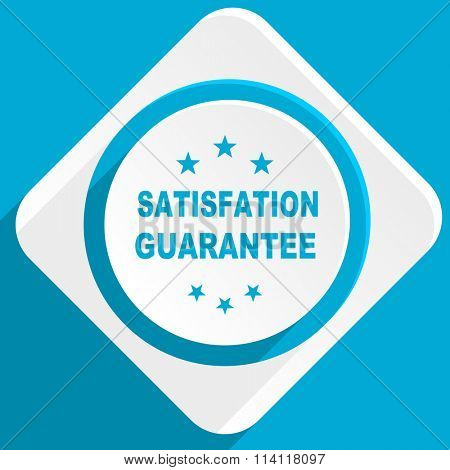 satisfaction guarantee blue flat design modern icon for web and mobile app