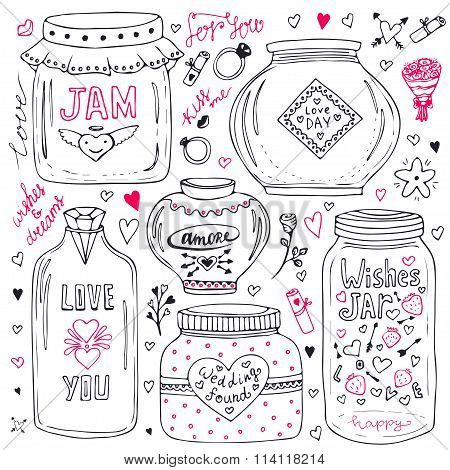 Cute mason jars set. Valentines hand drawn doodle collection. Vector wishes jar with lettering. Love illustration for greeting card or print.