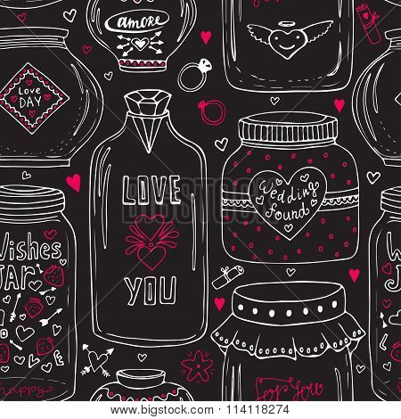 Cute jars of love pattern. Valentines seamless chalkboard background. Vector wishes jar with lettering. Love day decoration