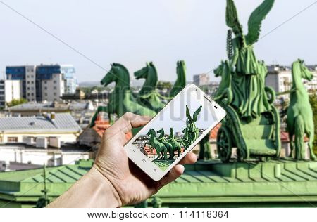 View Of The Sculptural Composition Narva Triumphal Arch In St. Petersburg