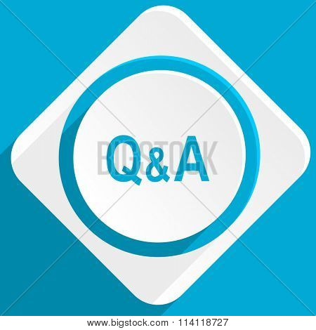 question answer blue flat design modern icon for web and mobile app
