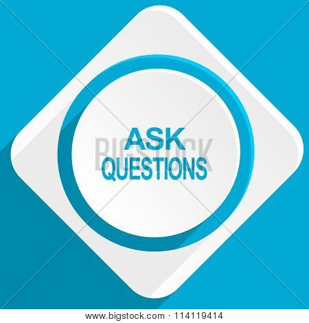 ask questions blue flat design modern icon for web and mobile app