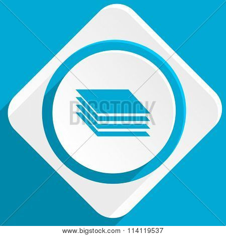 layers blue flat design modern icon for web and mobile app