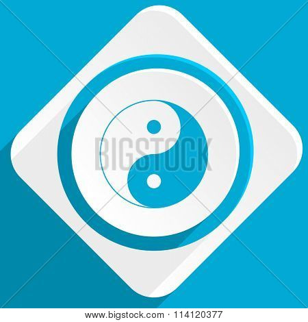 ying yang blue flat design modern icon for web and mobile app