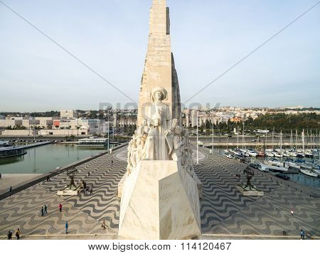 LISBON, PORTUGAL - CIRCA DEZ 2015: Aerial View of Monument to the Discoveries at Belem district, Lisbon, Portugal