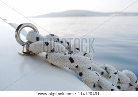 Detail Yacht Rope And Cleat.