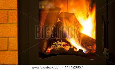 Firewood in the fireplace