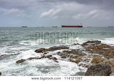 Ships anchored in the Bay of Todos os Santos
