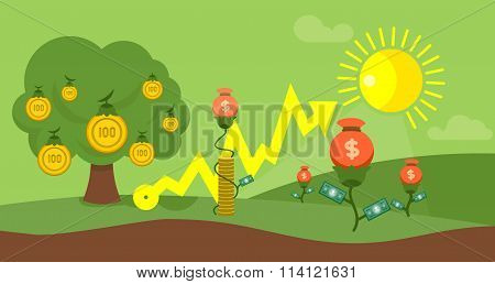 Cultivation Capital Flat Design Finance Concept