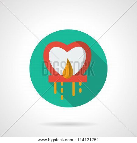 Red sky lantern flat round vector icon