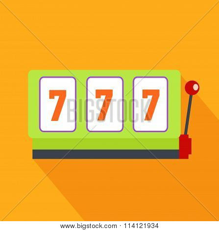 Slot Machine Flat Design on Background