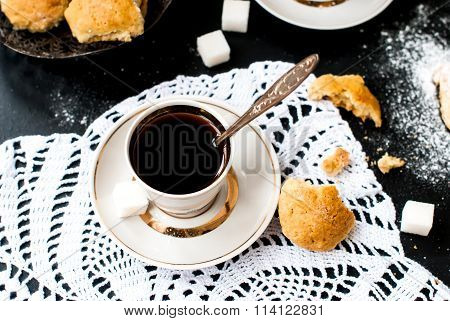 Homemade Shortbread Cookies And A Cup Of Coffee