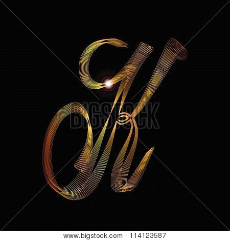 Letter K In Gold