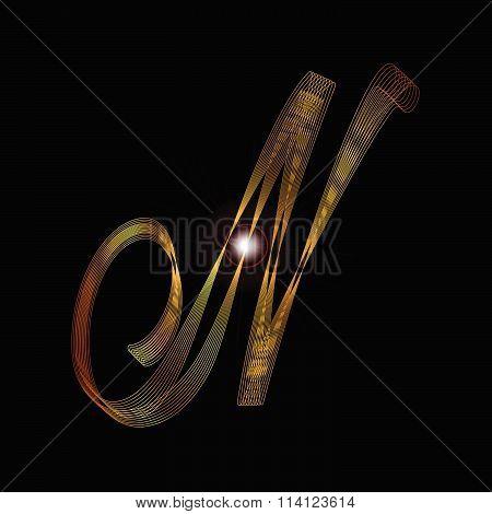 Letter N In Gold