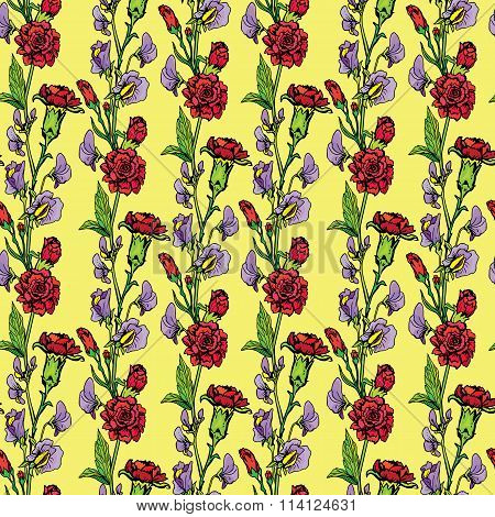 Seamless Pattern With Realistic Graphic Flowers - Sweet Pea And Clove - Hand Drawn Background.