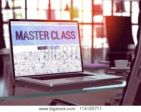 Master Class Concept on Laptop Screen.