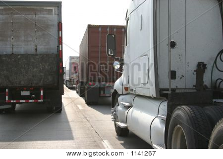 Line Of 18 Wheelers