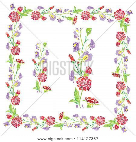 Set Of Ornaments - Decorative Hand Drawn Floral Border And Frame With Sweet Pea And Clove Flowers, I