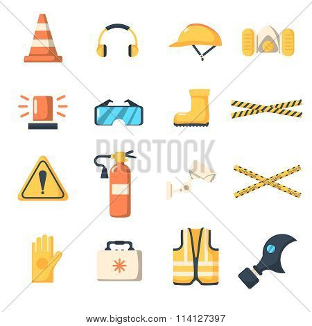 Safety work icons flat style.